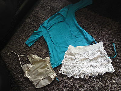 LADIES summer bundle size 10/12 bikinis, shorts Fat face beach cover up & S.suit