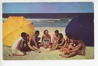 """""""On the Beach...Everybody Gets Together"""" Nice Vintage Chrome—Guys & Girls 1960s"""