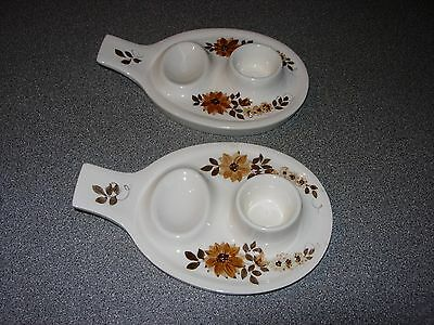 Two Vintage Retro Jersey Pottery Hand painted Double Egg Cups