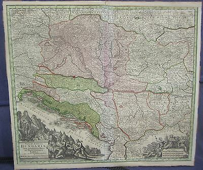 Matthaus Seutter Map Hungary 1730 21 by 24 inches Hand Colored