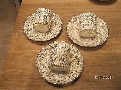 3 aynsley small coffee cups and saucers