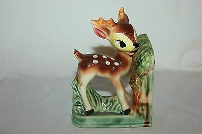 Adorable Bambi Bookend Baby Deer Fawn Ceramic  Book End 1950s Japan Vintage