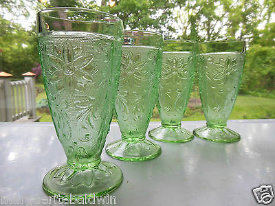 Tiara Indiana Glass 4 Chantilly Green Sandwich 10 oz Footed Tumblers