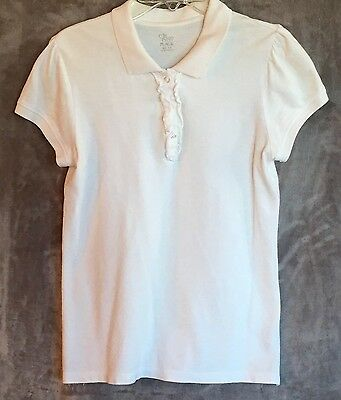 Children's Place Girl's White Short Sleeve Polo Shirt Size XL (14)