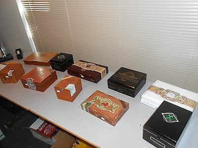 Lot Of 10 Assorted Empty Wood Cigar Boxes