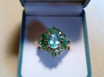 PARAIBA APATITE & KAGEM EMERALD cluster RING gold plated silver,size 8  3.45 cts
