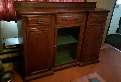 large antique sideboard display cabinet unit 3 cupboards 3 drawers