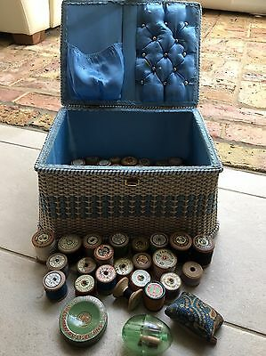 Vintage Sewing Box Filled With 70+ Wooden Cotton Reels