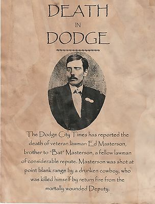Ed Masterson~(I Combine Shipping)~Old West,poster,deputy,dodge,wanted