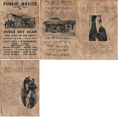 4 Old West Wanted Posters Wanted Judge Roy Bean Pecos Law