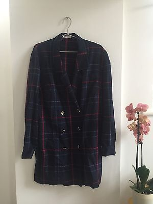 Vintage 1980s Long Navy Blue Red Green Check Blazer With Gold Buttons One Size