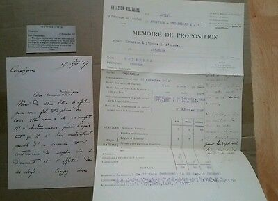 Copy OF 2x WW1 DOCS, LETTER TO GEORGE GUY NEAR PARENTS  AND HIS PILOT CITATION.