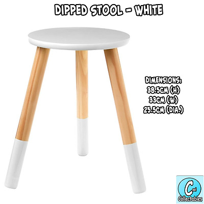 Dipped Wooden Stool - White Seat Bedside Table Home Decor - Indoor Kids Room