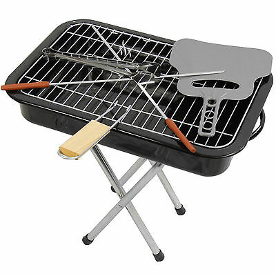 Portable Kettle Barbecue BBQ Grill Includes Grilling Tongs Heat Resistant Garden
