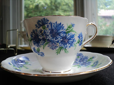 Lovely Vintage Colclough England Blue Bachelor Buttons Teacup and Saucer