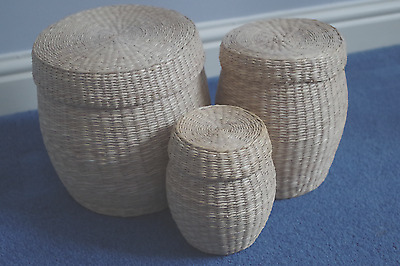 Set of 3 IKEA Wicker storage basket containers with lids discontinued