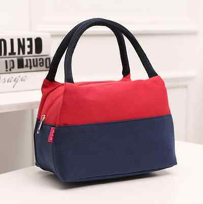 Portable Canvas Insulated Lunch Carry Toe Handbag Travel Picnic Bag Box Case Red
