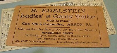 1920's Edelstein Ladies and Gents Tailor Brown Advertising Ink Blotter Akron PA
