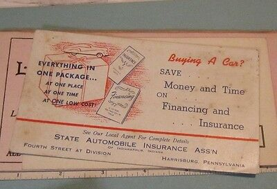 Vintage State Automobile Insurance Ass'n of Indianapolis Advertising Ink Blotter
