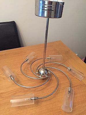 Glass And Chrome Ceiling Lights X2 (1 Slightly Damaged)