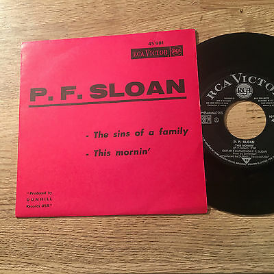 "French 7"" P.F. Sloan The sins of a family / This mornin' 1965 folk rock"