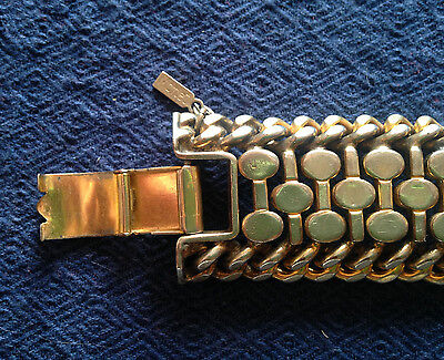 Vintage Heavy Wide Monet Bracelet, Moderernist, Metal