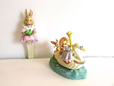 Avon Kathy Jeffers 1993 swan ride Waiting Our Turn & bunny plant hanger  Easter