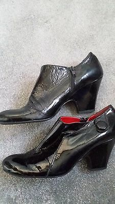 Betty Jackson black patent ankle boots size 7.5