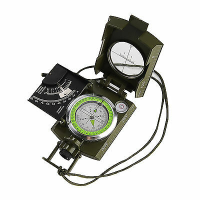 Hiking Military Sighting Compass Clinometer Camping Outdoor Pouch Lanyard NEW