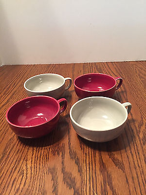 Russel Wright American Modern Steubenville Pottery Flat Cups Grey Burgundy 4