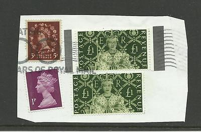 Gb - Qe2 - Two £1 Values From Mini Sheet Ms2147 Used On Piece (See Below)