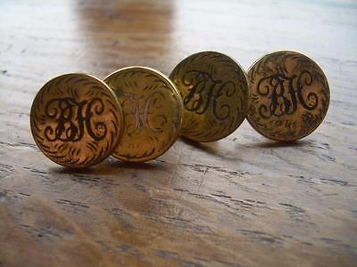VINTAGE HUNT BUTTONS: THE DUKE OF BEAUFORT'S HUNT 4 x CUFF BUTTONS