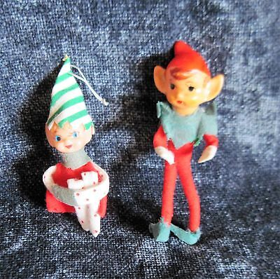 Two (2) Vintage Small Elf Ornaments