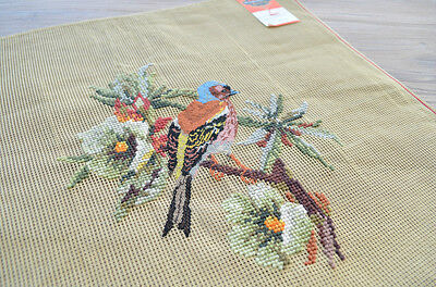 """18"""" Preworked Needlepoint Canvas Pheasant on branch Design Finished Handmade"""