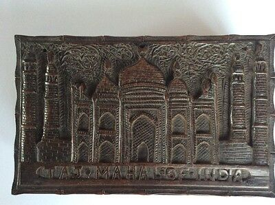 Anglo Indian carved wooden box c1900 Taj Mahal. Unusual mechanism.