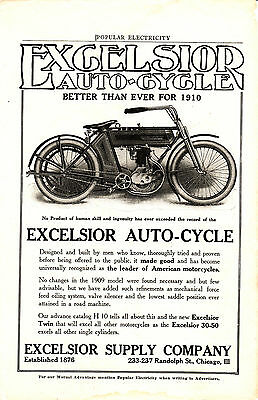 1911  Excelsior antique motorcycle advertising