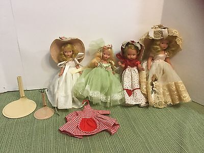 Nancy Ann Story Book Doll Clothes Accessories Lot 4 Dolls 1-extra Dress Great Co