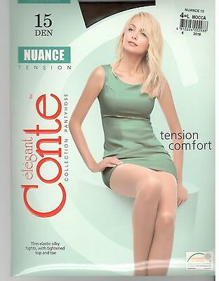 Conte Tights Pantyhose NUANCE 15 DEN Size L (4) Color Mocca.