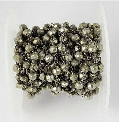 10 Feet Natural Pyrite Rondelle 3-4mm Faceted Beads Black Wire Rosary Chain