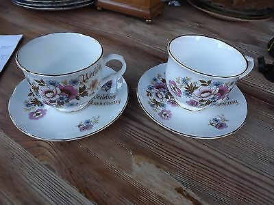 Royal Sutherland Wedding Anniversary 2 Cups & Saucers Gift Present Idea