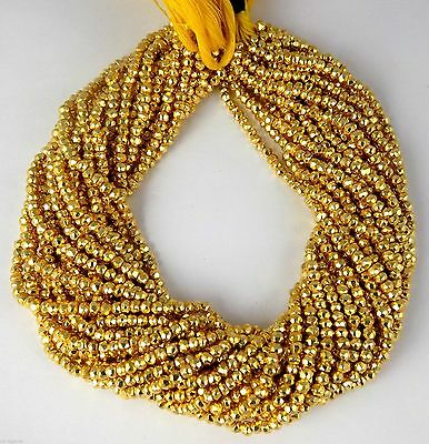 """5 Strand Gold Pyrite Gemstone Faceted Rondelle Beads 3.5-4mm Bead 13"""" Long"""