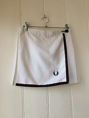 Vintage Fred Perry White Pleated Sports Skirt Size 8