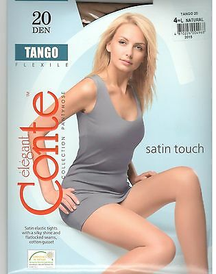 Conte Tights Pantyhose TANGO 20 DEN Size L (4) Color Natural (Beige).