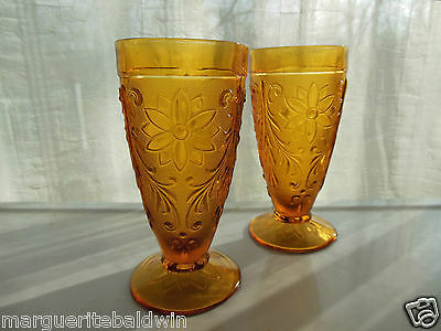 Tiara Indiana Glass 2 Amber Sandwich 11 ounce Footed Tumblers