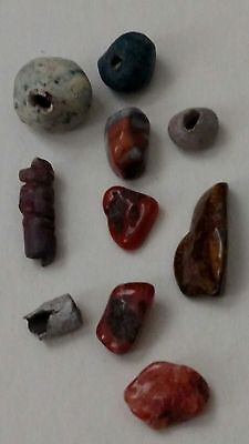 "Lot of 10 Amazing Egyptian beads, ""5 Carnelian & 5 Mummy Faïence"" C01"