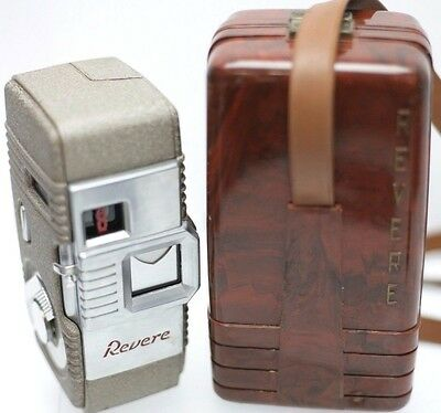 Revere Eight Model Fifty-Five 8mm Movie Film Camera w/ Original Bakelite Case