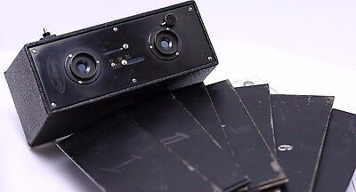 Rare - Ica Plaskop 45x107mm Glass Plate Stereo Film Camera w/ 7 Plate Holders