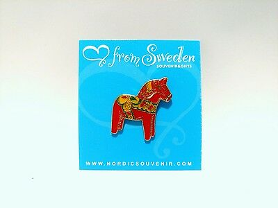 "1"" Traditional Red Swedish Dala Horse Lapel Pin from Sweden"