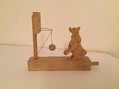 Genuine Vintage Russian Hand Carved Wooden Mishka Bear Moving Toy. Unique Gift