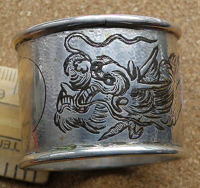 Antique Chinese Silver Napkin Ring, Hallmarked. Engraved With A Dragon.